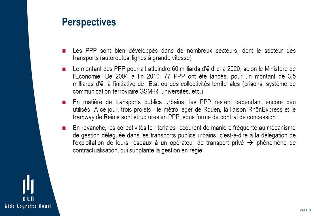 Perspectives Les PPP sont bien développés dans de nombreux secteurs, dont le secteur des transports (autoroutes, lignes à grande vitesse)