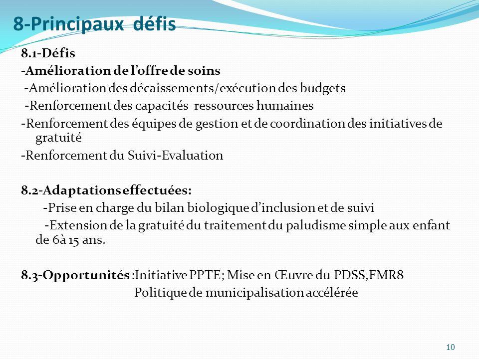 8-Principaux défis 8.1-Défis -Amélioration de l'offre de soins