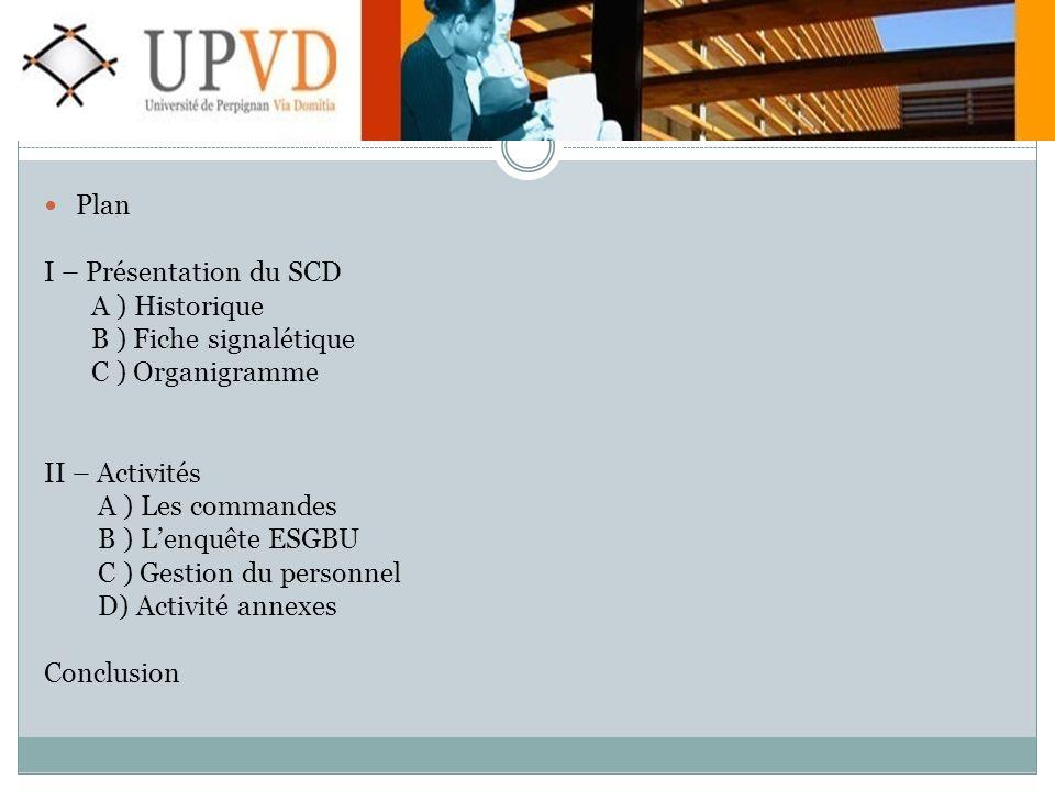 Plan I – Présentation du SCD. A ) Historique. B ) Fiche signalétique. C ) Organigramme. II – Activités.