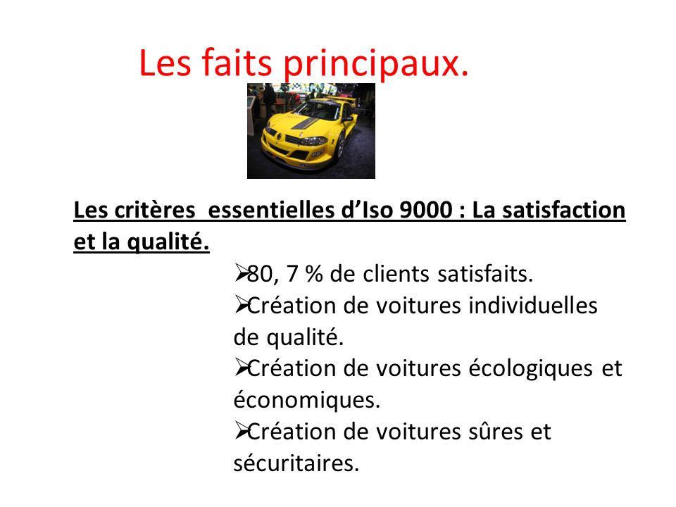 Les faits principaux. Les critères essentielles d'Iso 9000 : La satisfaction et la qualité. 80, 7 % de clients satisfaits.