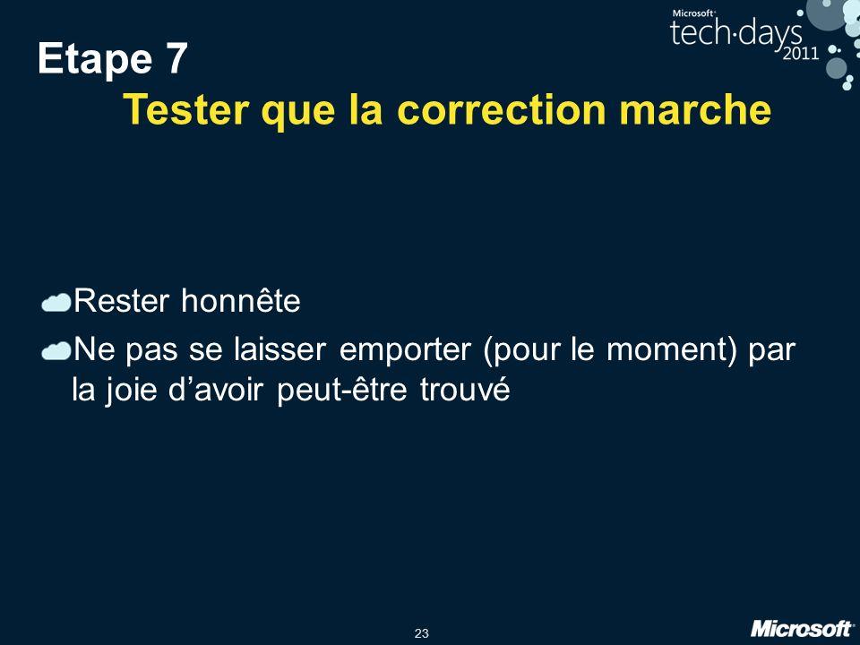 Etape 7 Tester que la correction marche