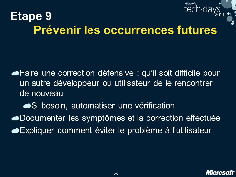 Etape 9 Prévenir les occurrences futures