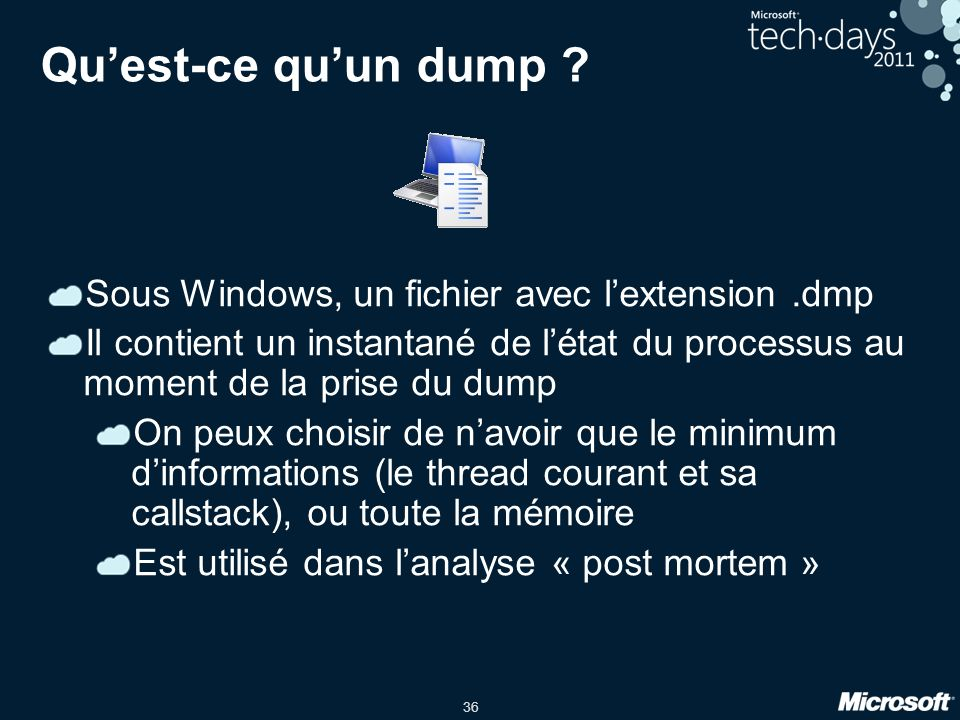 Qu'est-ce qu'un dump Sous Windows, un fichier avec l'extension .dmp