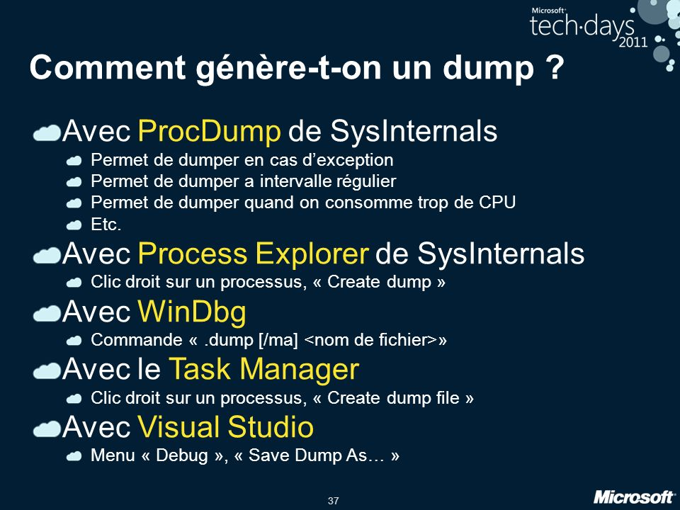 Comment génère-t-on un dump