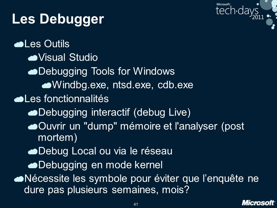Les Debugger Les Outils Visual Studio Debugging Tools for Windows