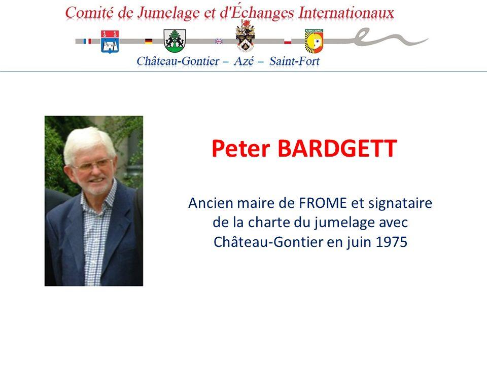 Peter BARDGETT Ancien maire de FROME et signataire de la charte du jumelage avec Château-Gontier en juin 1975.