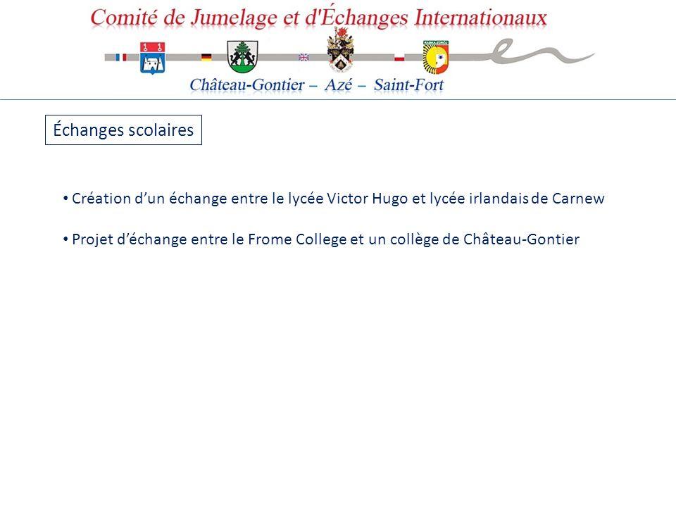 Échanges scolaires Création d'un échange entre le lycée Victor Hugo et lycée irlandais de Carnew.