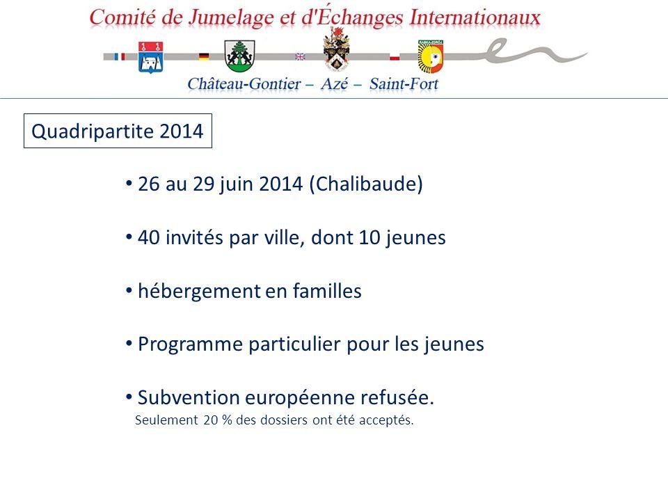 Quadripartite 2014 26 au 29 juin 2014 (Chalibaude) 40 invités par ville, dont 10 jeunes. hébergement en familles.