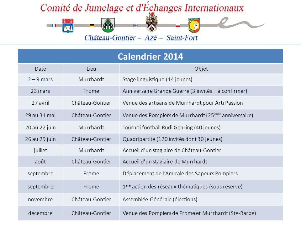 Calendrier 2014 Date Lieu Objet 2 – 9 mars Murrhardt