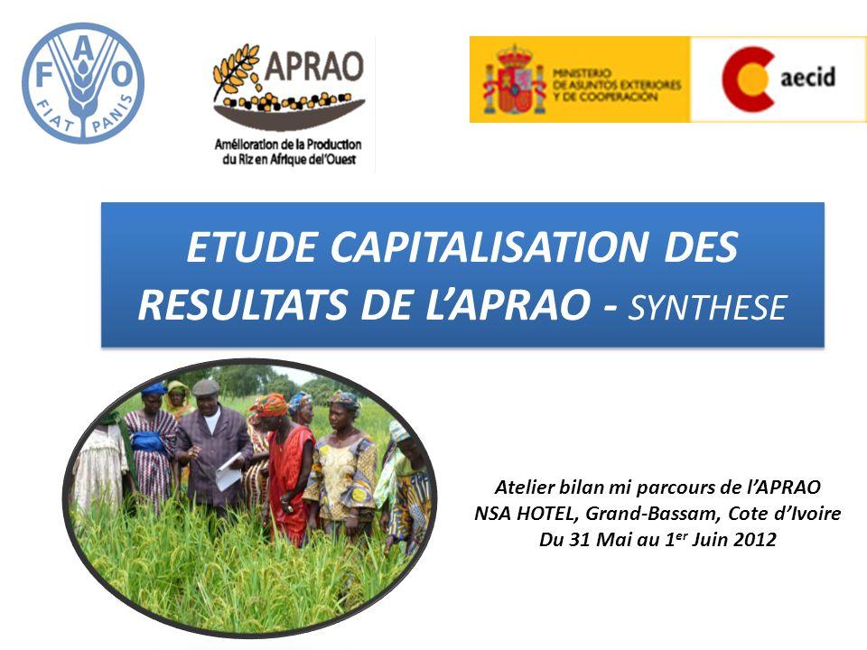 ETUDE CAPITALISATION DES RESULTATS DE L'APRAO - SYNTHESE