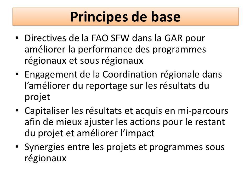 Principes de base Directives de la FAO SFW dans la GAR pour améliorer la performance des programmes régionaux et sous régionaux.