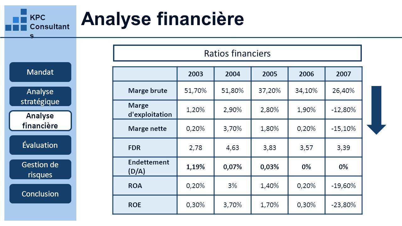 Analyse financière Ratios financiers Mandat Analyse stratégique