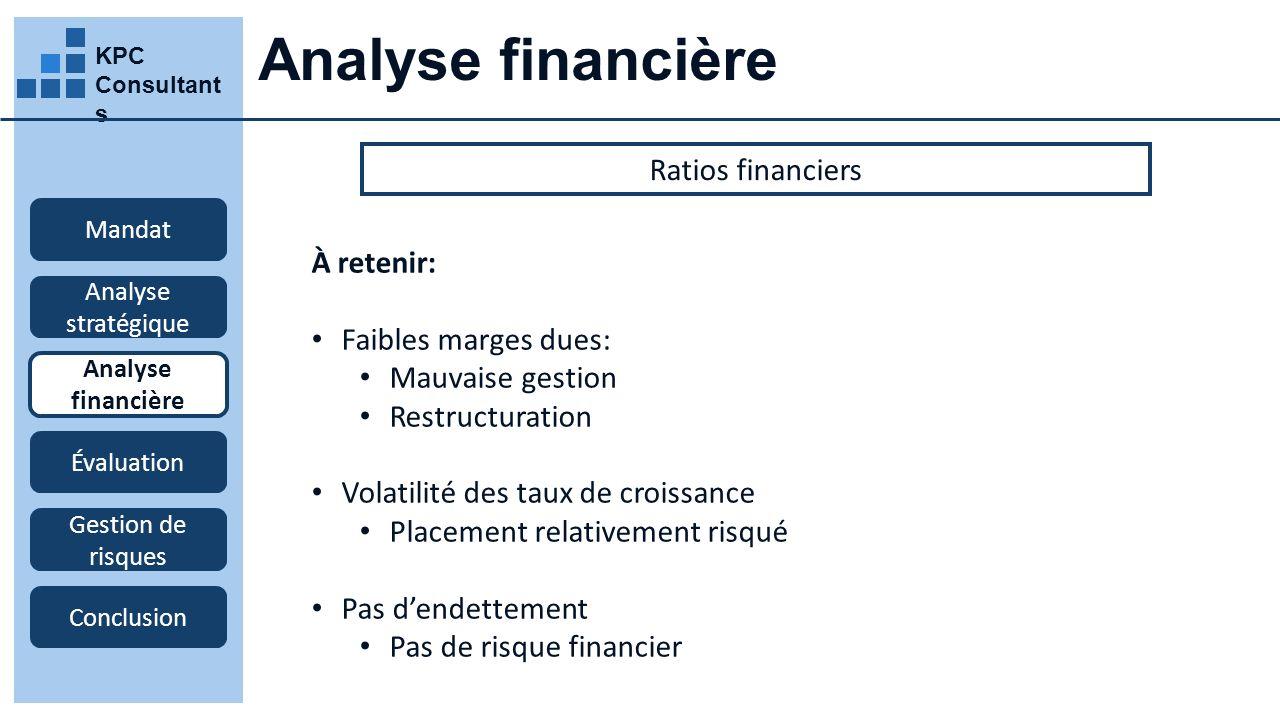 Analyse financière Ratios financiers À retenir: Faibles marges dues: