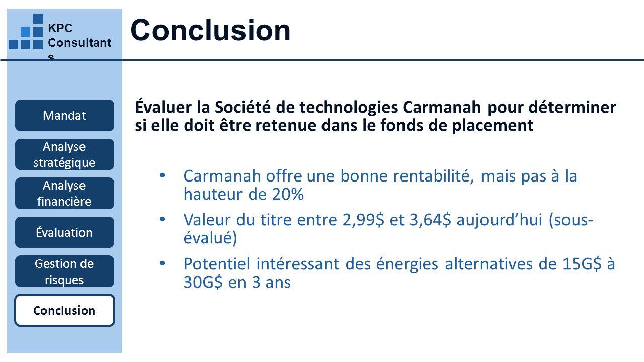 Conclusion KPC Consultants. Évaluer la Société de technologies Carmanah pour déterminer si elle doit être retenue dans le fonds de placement.