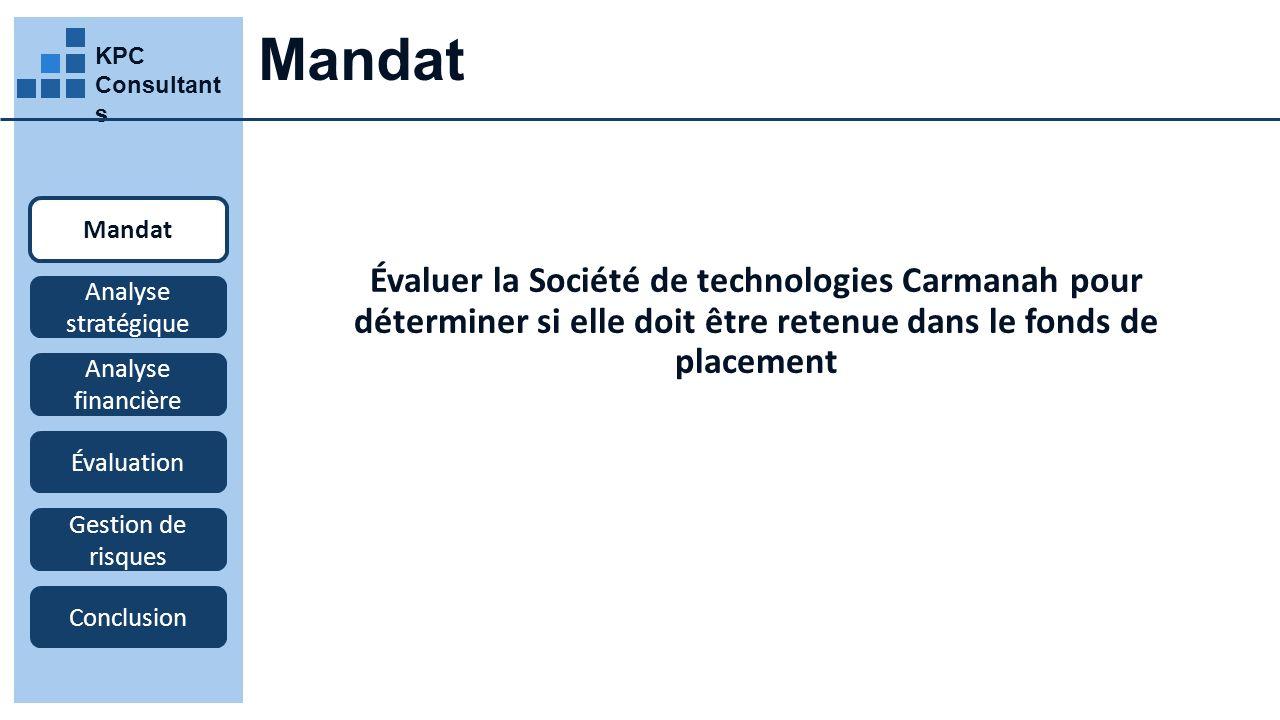 Mandat KPC Consultants. Mandat. Évaluer la Société de technologies Carmanah pour déterminer si elle doit être retenue dans le fonds de placement.