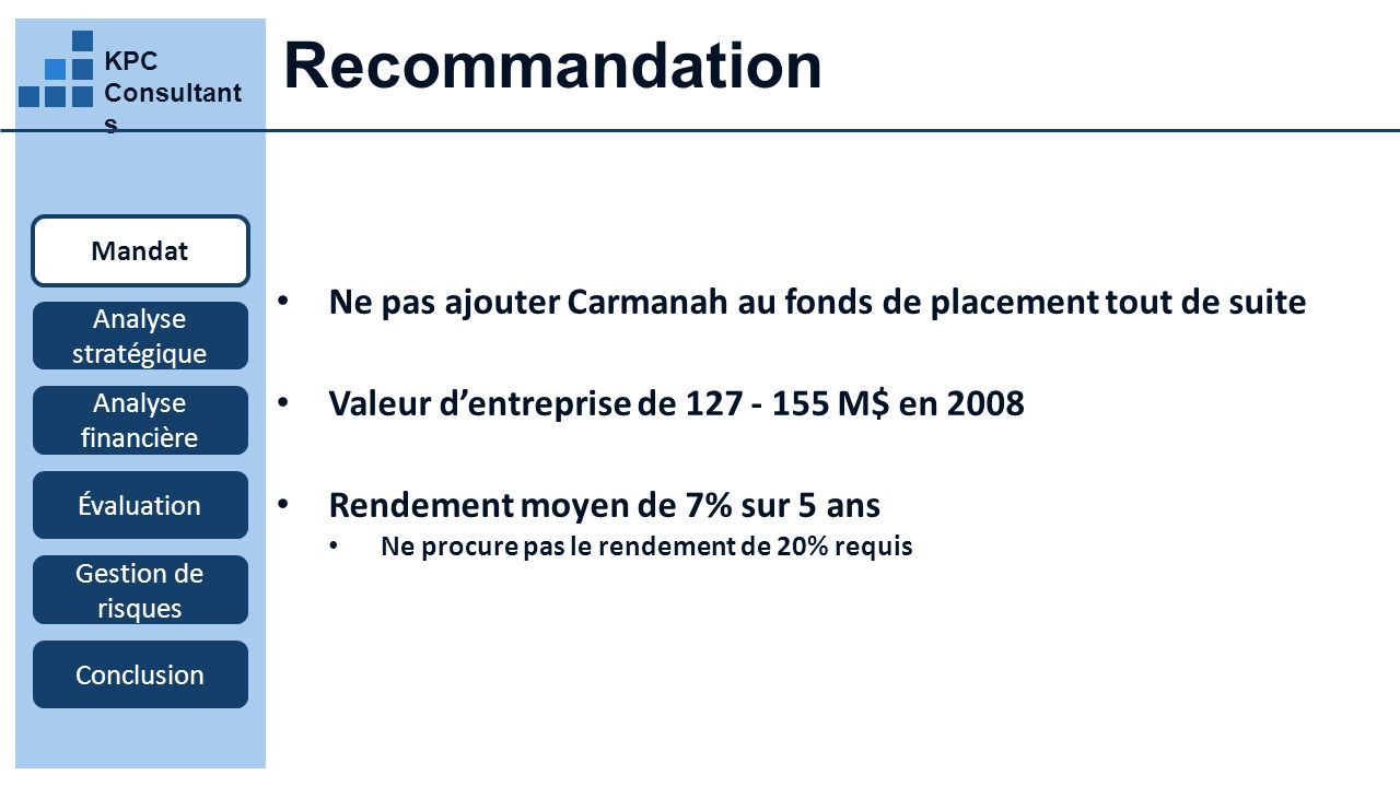 Recommandation KPC Consultants. Mandat. Ne pas ajouter Carmanah au fonds de placement tout de suite.
