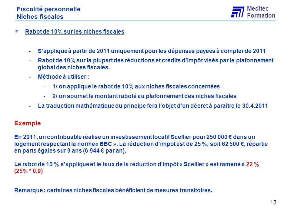 Fiscalité personnelle Niches fiscales