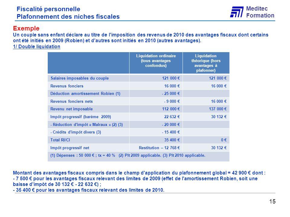 Fiscalité personnelle Plafonnement des niches fiscales