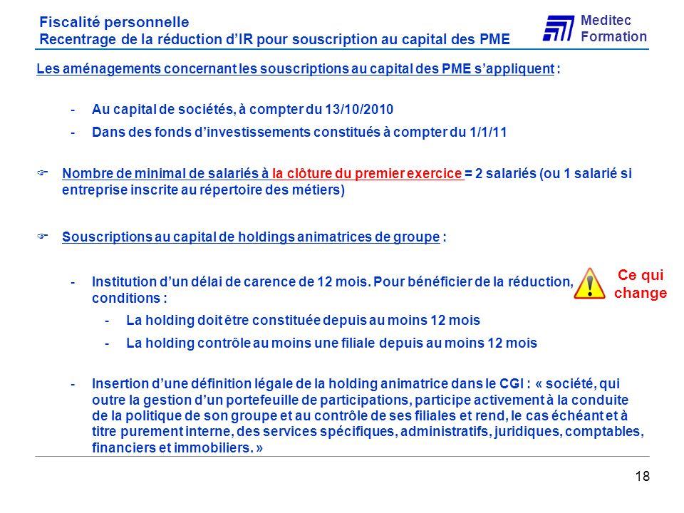 Fiscalité personnelle Recentrage de la réduction d'IR pour souscription au capital des PME