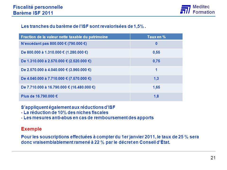 Fiscalité personnelle Barème ISF 2011