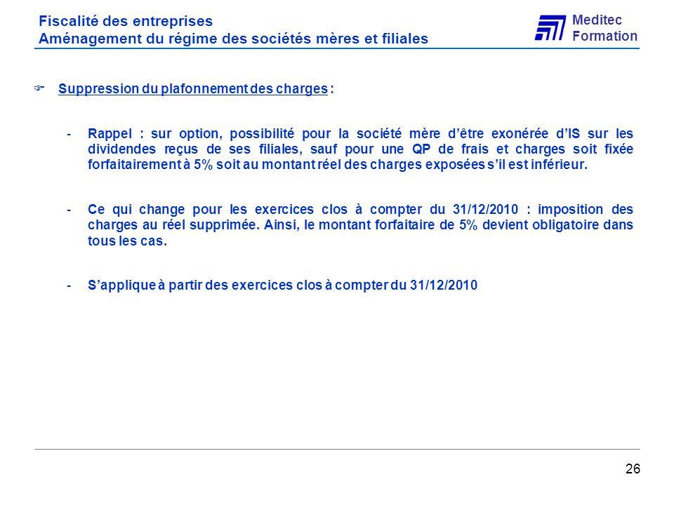 Fiscalité des entreprises Aménagement du régime des sociétés mères et filiales