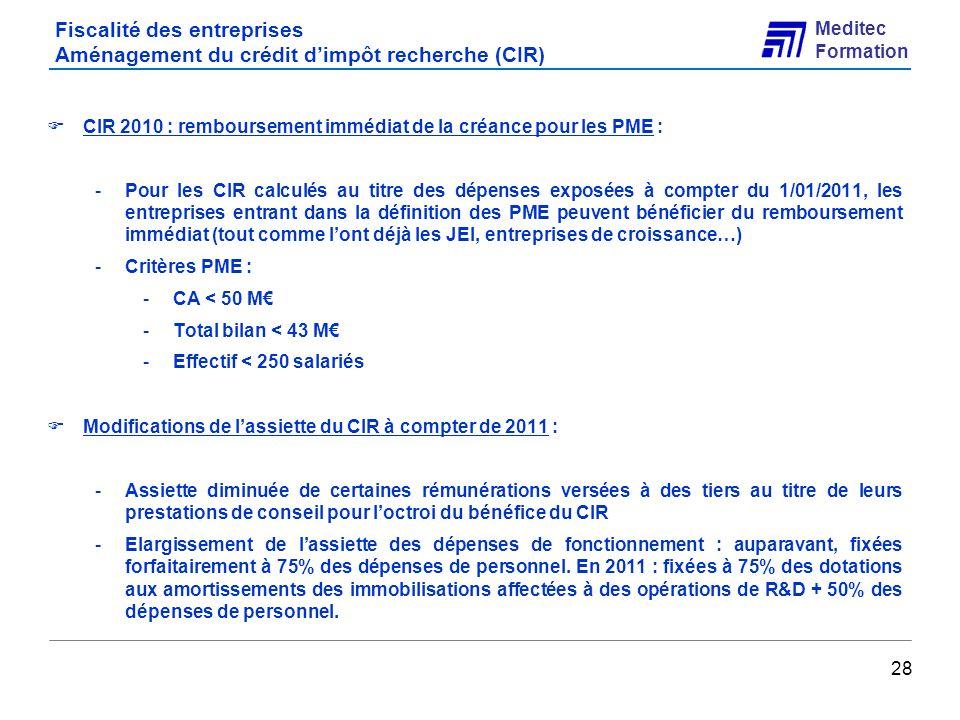 Fiscalité des entreprises Aménagement du crédit d'impôt recherche (CIR)