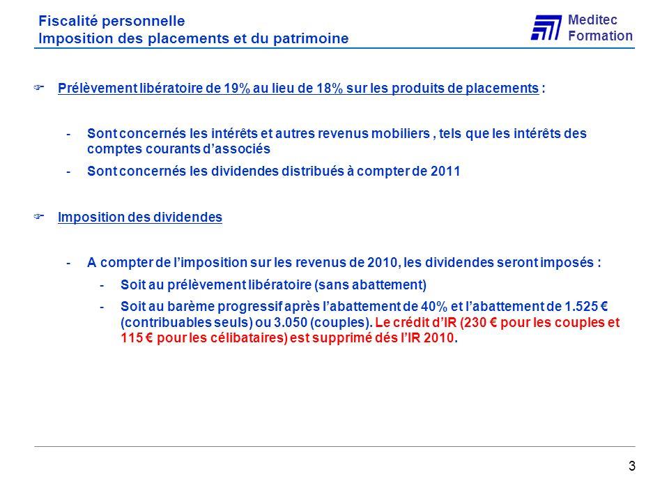 Fiscalité personnelle Imposition des placements et du patrimoine