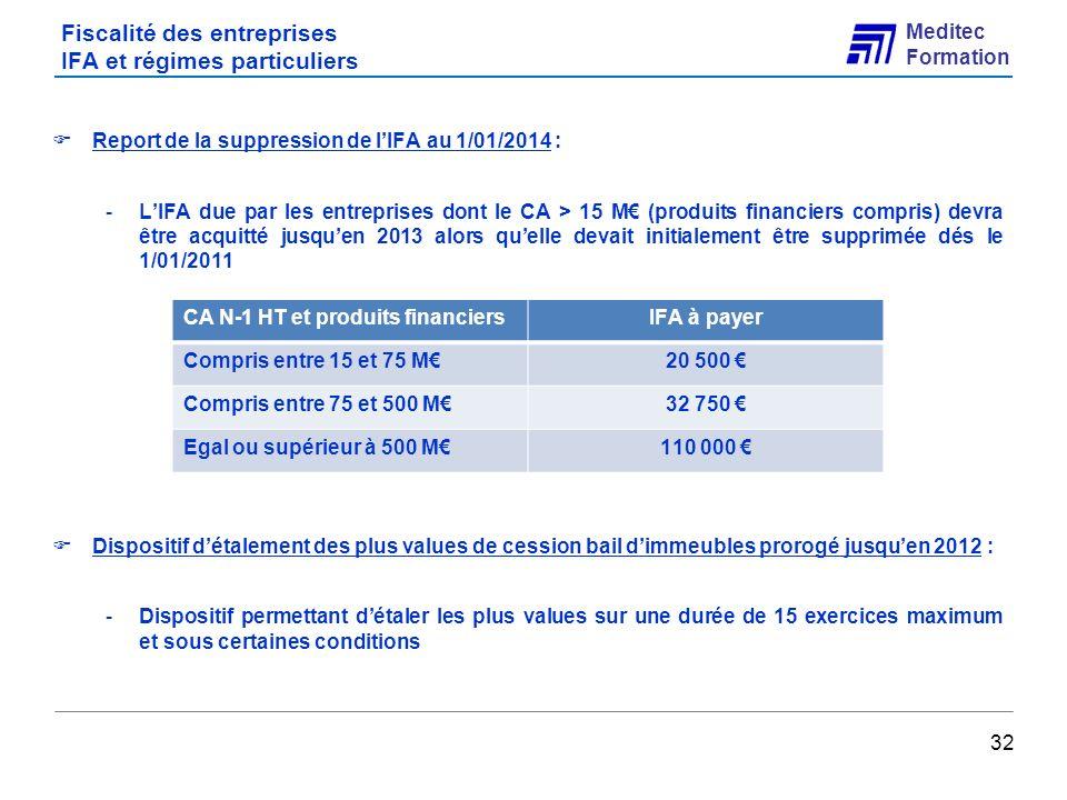 Fiscalité des entreprises IFA et régimes particuliers