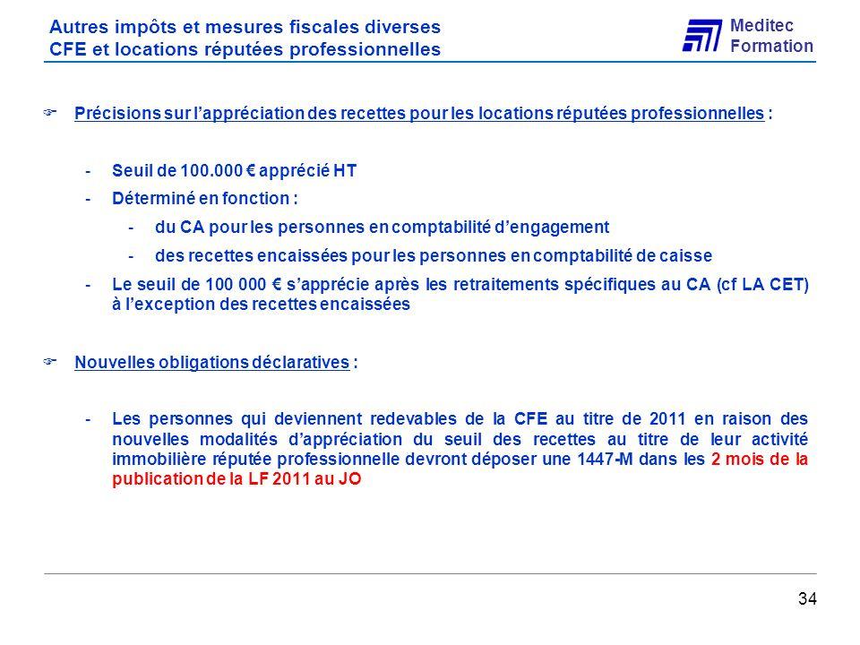 Autres impôts et mesures fiscales diverses CFE et locations réputées professionnelles