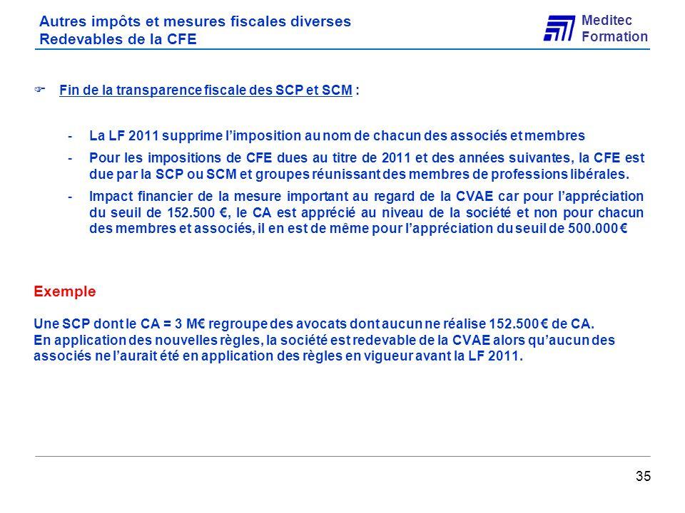 Autres impôts et mesures fiscales diverses Redevables de la CFE