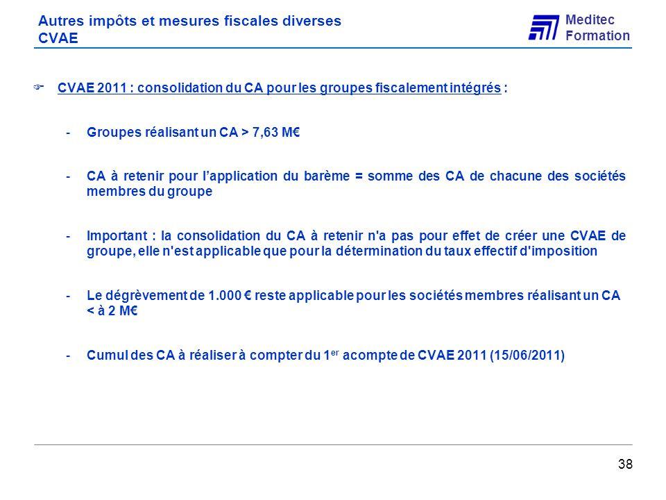 Autres impôts et mesures fiscales diverses CVAE