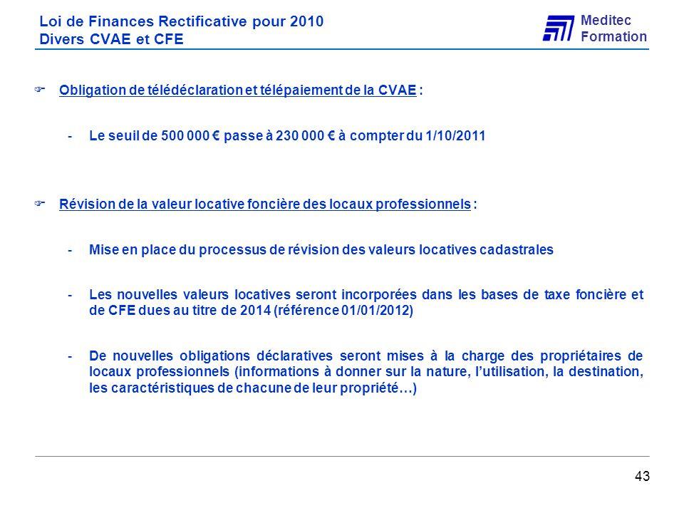 Loi de Finances Rectificative pour 2010 Divers CVAE et CFE