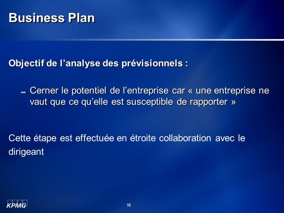 Business Plan Objectif de l'analyse des prévisionnels :