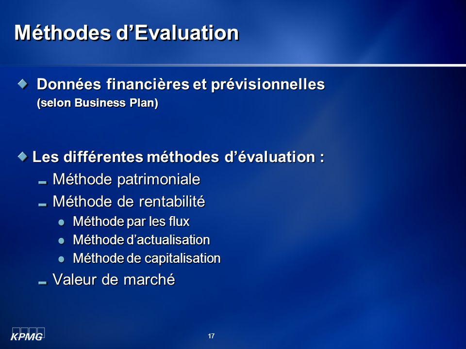 Méthodes d'Evaluation