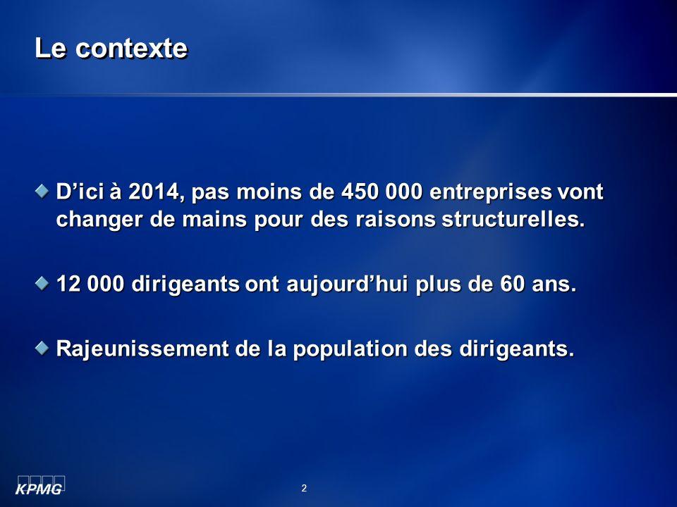 Le contexte D'ici à 2014, pas moins de 450 000 entreprises vont changer de mains pour des raisons structurelles.