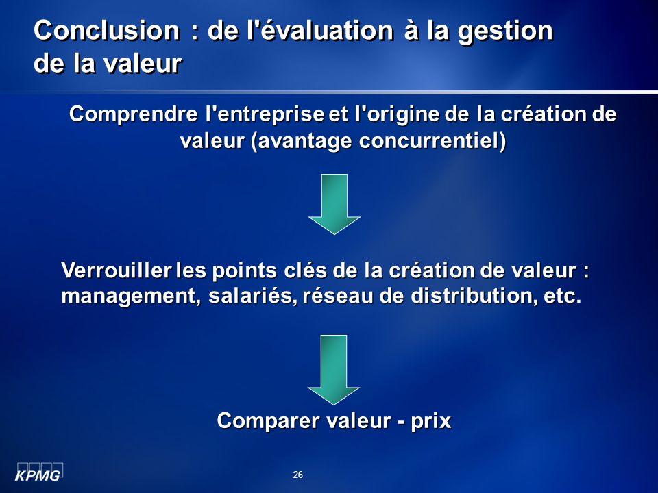 Conclusion : de l évaluation à la gestion de la valeur