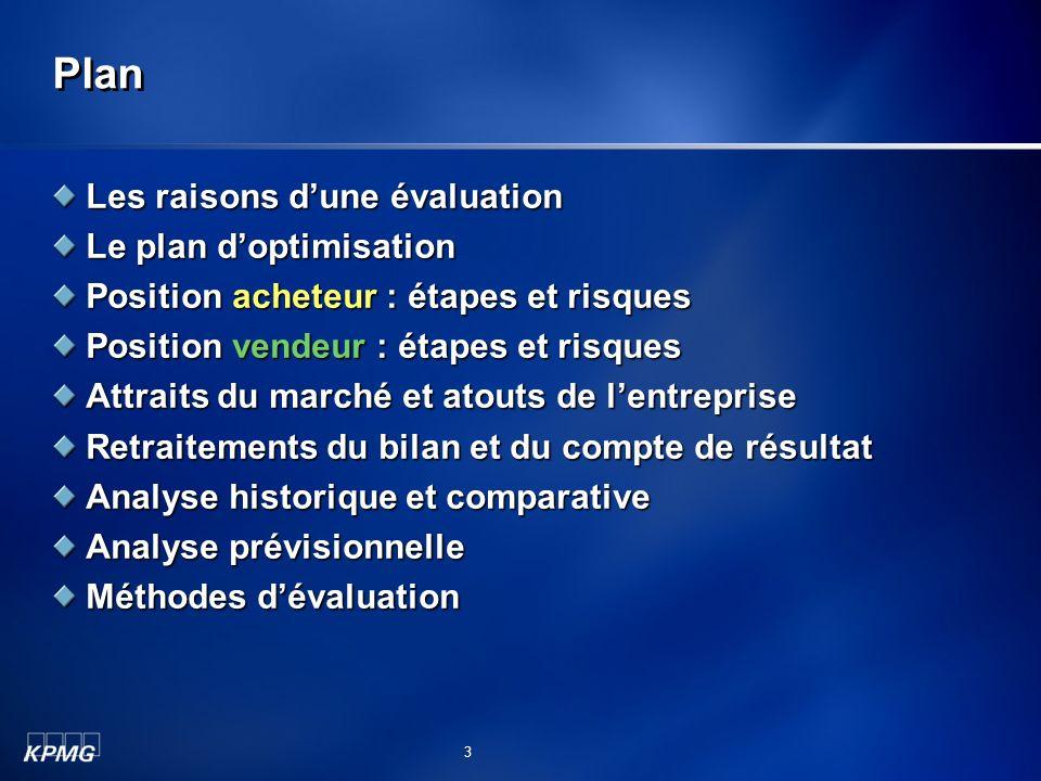 Plan Les raisons d'une évaluation Le plan d'optimisation