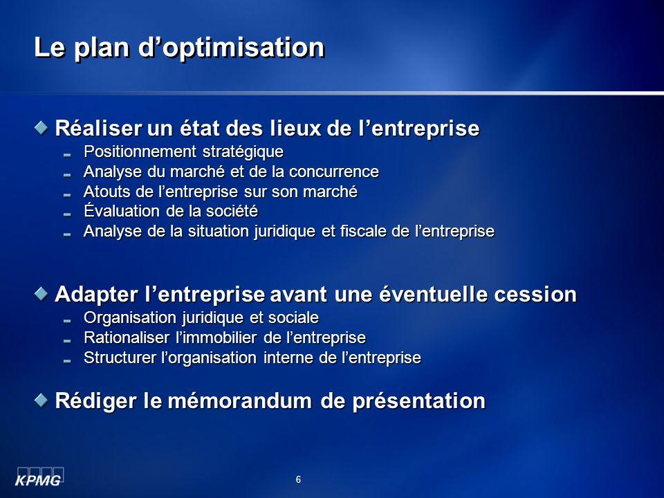 Le plan d'optimisation