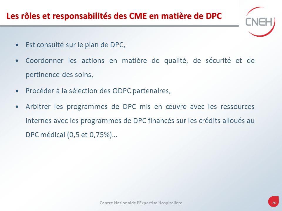 Les rôles et responsabilités des CME en matière de DPC