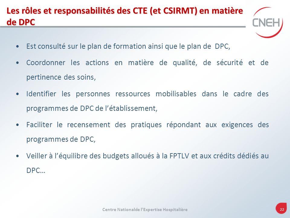 Les rôles et responsabilités des CTE (et CSIRMT) en matière de DPC