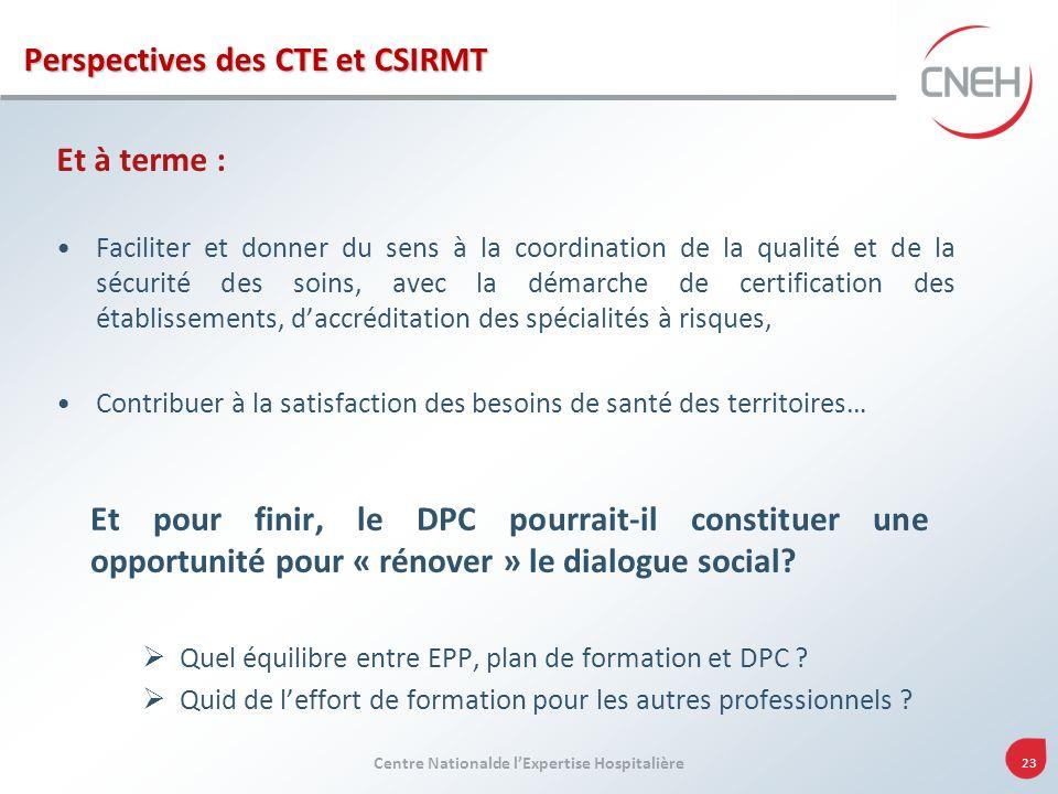 Perspectives des CTE et CSIRMT