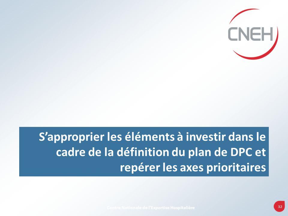 S'approprier les éléments à investir dans le cadre de la définition du plan de DPC et repérer les axes prioritaires
