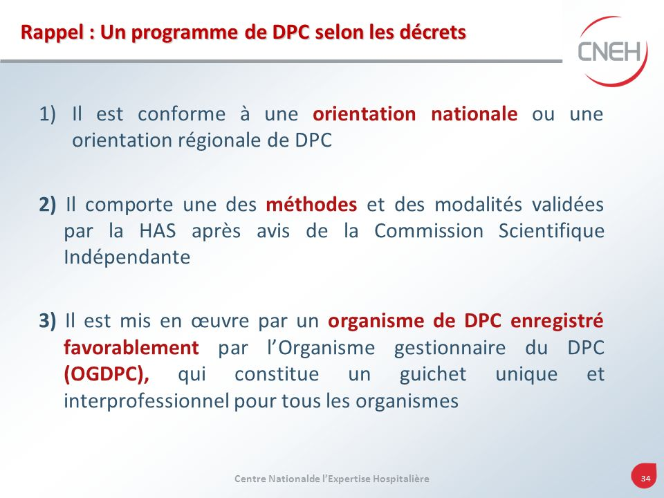 Rappel : Un programme de DPC selon les décrets