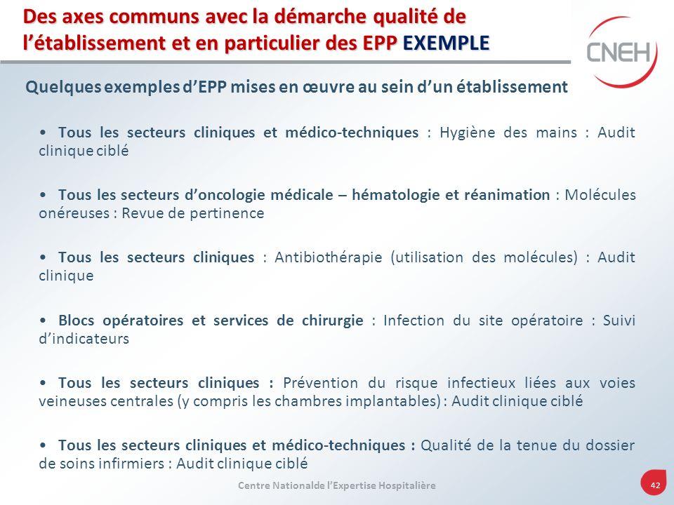 Des axes communs avec la démarche qualité de l'établissement et en particulier des EPP EXEMPLE