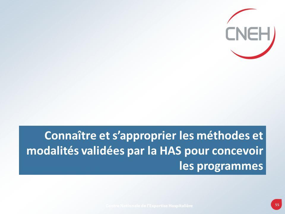 Connaître et s'approprier les méthodes et modalités validées par la HAS pour concevoir les programmes