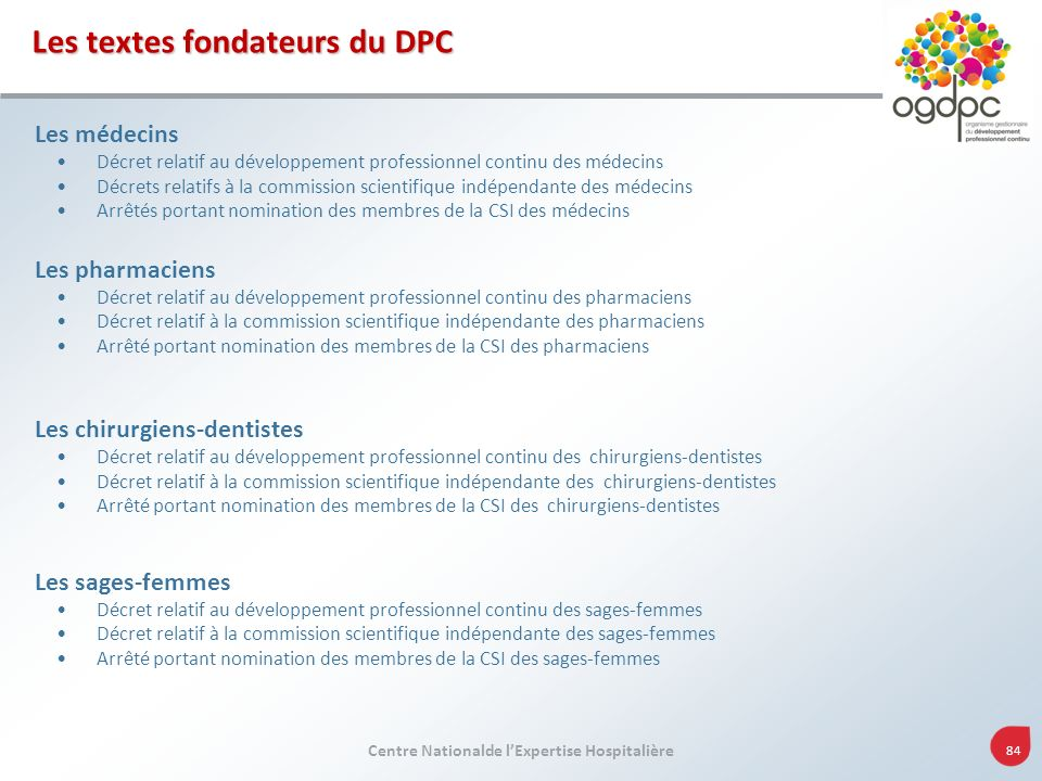 Les textes fondateurs du DPC
