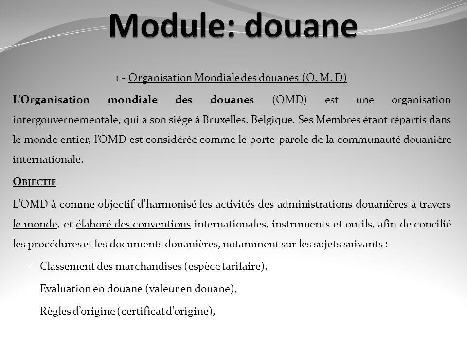 1 - Organisation Mondiale des douanes (O. M. D)