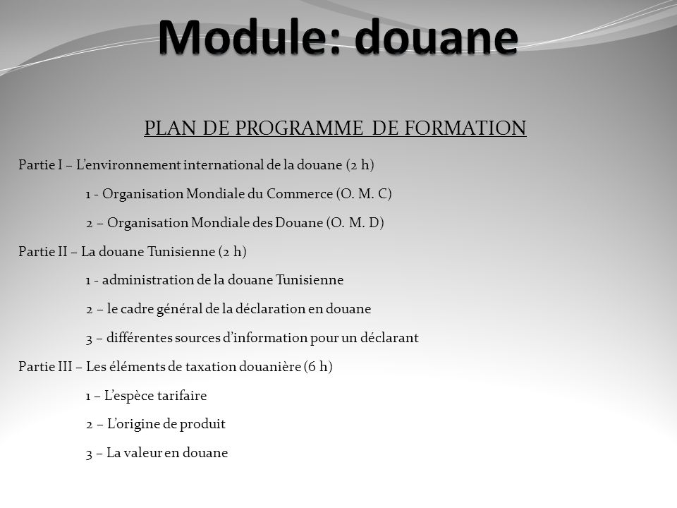 PLAN DE PROGRAMME DE FORMATION