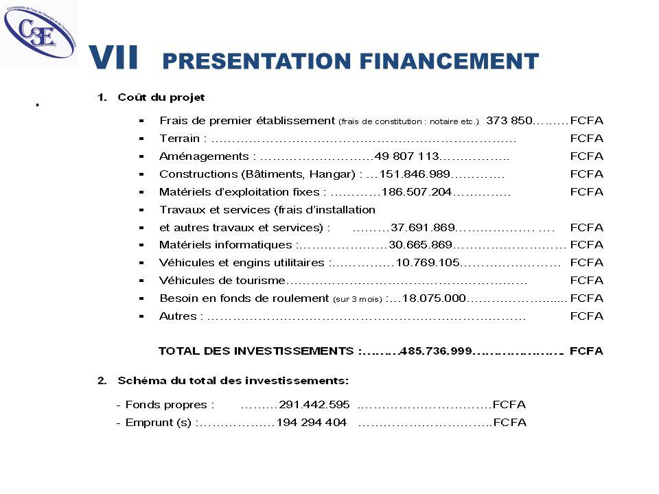 VII PRESENTATION FINANCEMENT