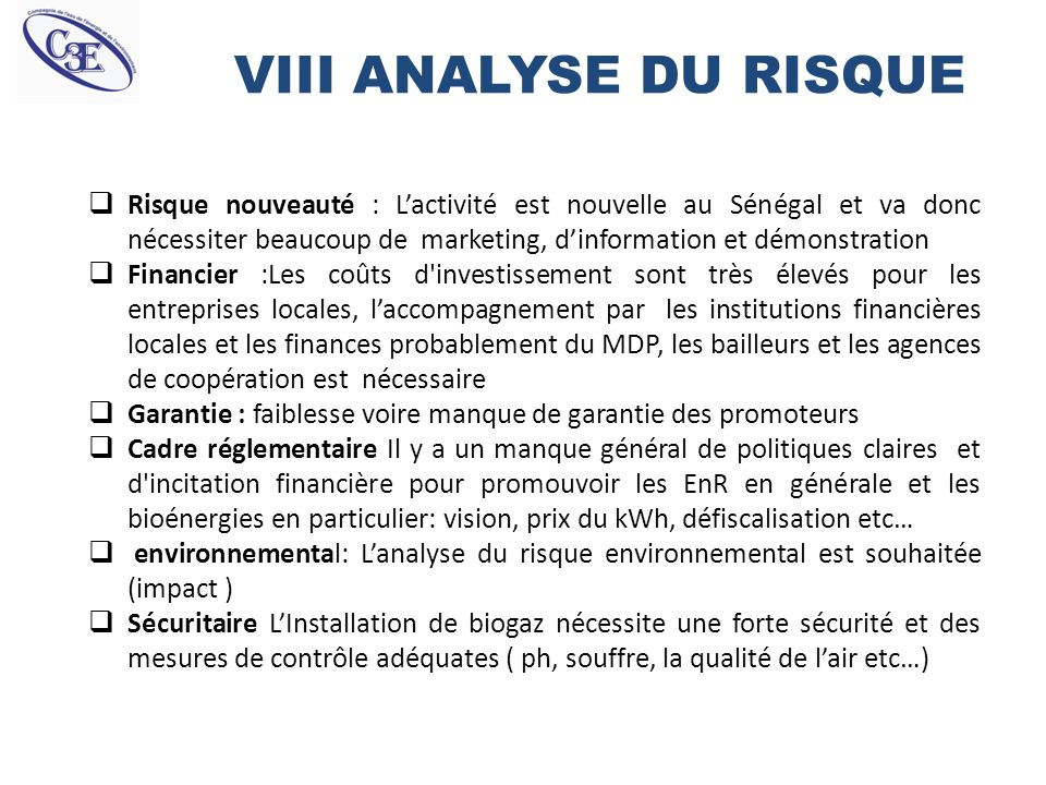 VIII ANALYSE DU RISQUE